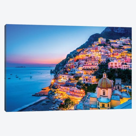 Positano, Church Santa Maria Assunta Sunset  Canvas Print #SKR189} by Susanne Kremer Canvas Wall Art