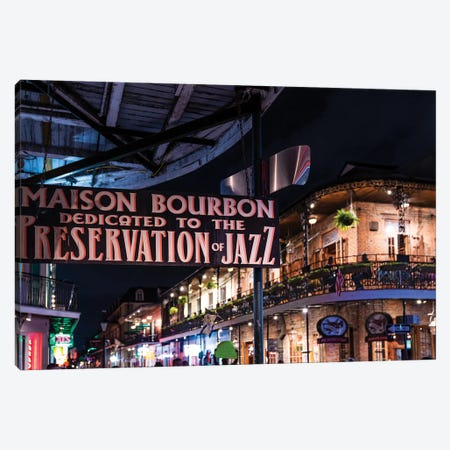 Bourbon Street Nightlife French Quarter  Canvas Print #SKR18} by Susanne Kremer Canvas Print