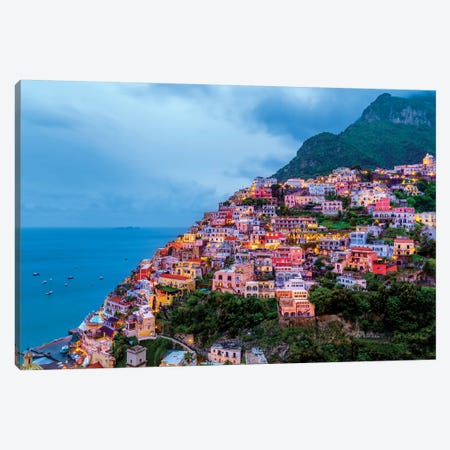 Positano, Illuminated  Canvas Print #SKR190} by Susanne Kremer Canvas Art Print