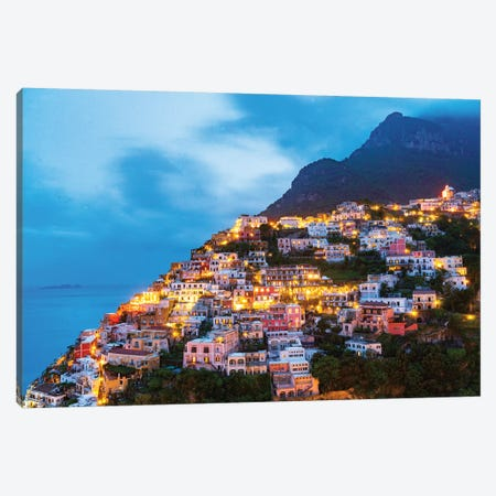 Positano, Illuminated At Night  Canvas Print #SKR191} by Susanne Kremer Canvas Print
