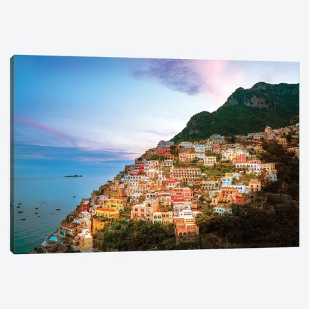 Positano, Sunset  Canvas Print #SKR192} by Susanne Kremer Canvas Art Print