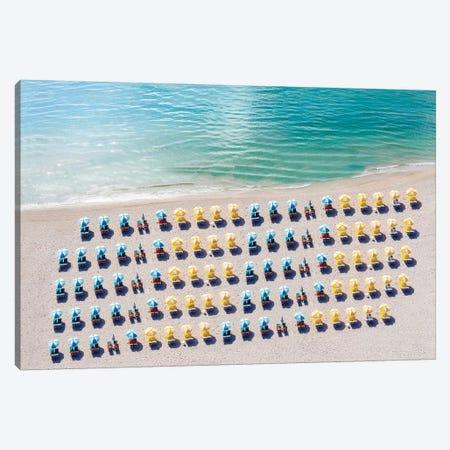 Aerial Beach Chairs and Umbrellas Canvas Print #SKR1} by Susanne Kremer Canvas Art