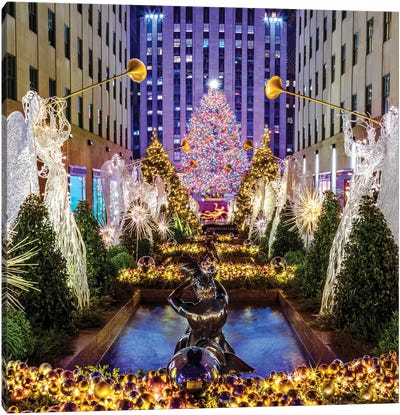 Rockefeller Center with Christmas Tree and Angels I Canvas Art Print