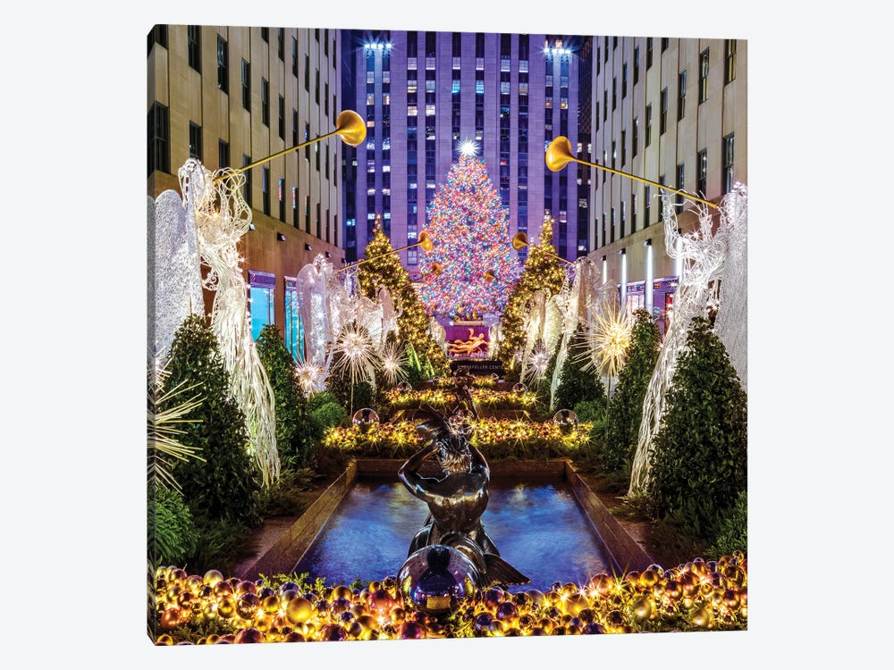 Rockefeller Center with Christmas Tree and Angels I by Susanne Kremer 1-piece Canvas Artwork