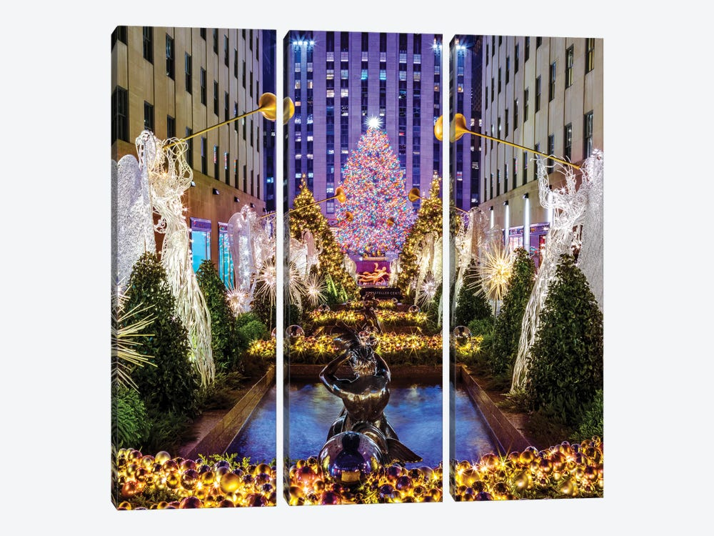 Rockefeller Center with Christmas Tree and Angels I by Susanne Kremer 3-piece Canvas Wall Art