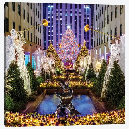 Rockefeller Center with Christmas Tree and Angels I Canvas Print #SKR200} by Susanne Kremer Canvas Art Print