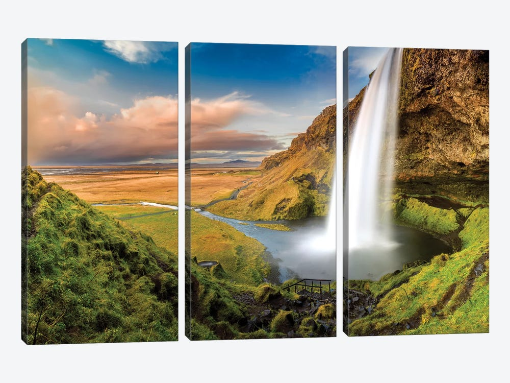 Seljalandsfoss Waterfall II 3-piece Canvas Art Print