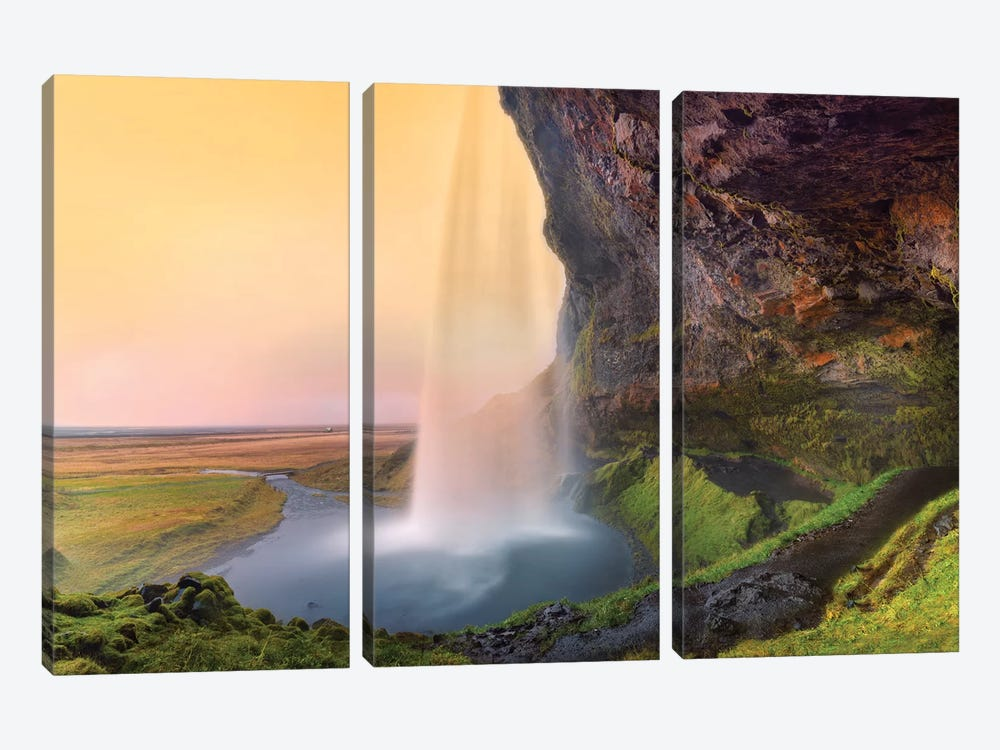 Seljalandsfoss Waterfall III by Susanne Kremer 3-piece Canvas Artwork