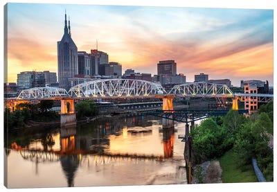 Skyline of Nashville with Shelby Bridge Canvas Art Print