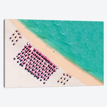 South Beach With Chairs And Umbrella  Canvas Print #SKR224} by Susanne Kremer Canvas Artwork