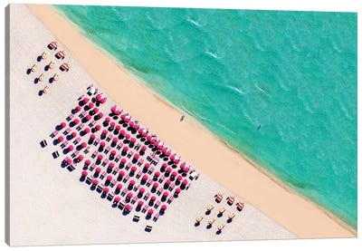 South Beach With Chairs And Umbrella  Canvas Art Print