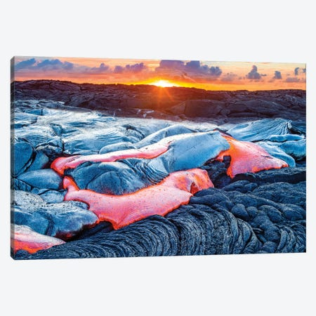 Sunrise Above Lava Stream Kilauea Volcano Canvas Print #SKR226} by Susanne Kremer Canvas Art