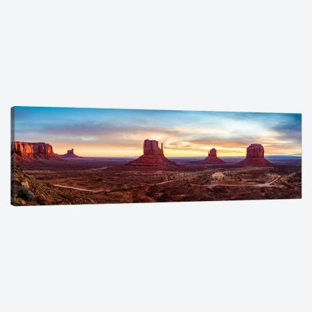 Sunrise Monument Valley Navajo Tribal Park  Canvas Print #SKR227} by Susanne Kremer Canvas Wall Art