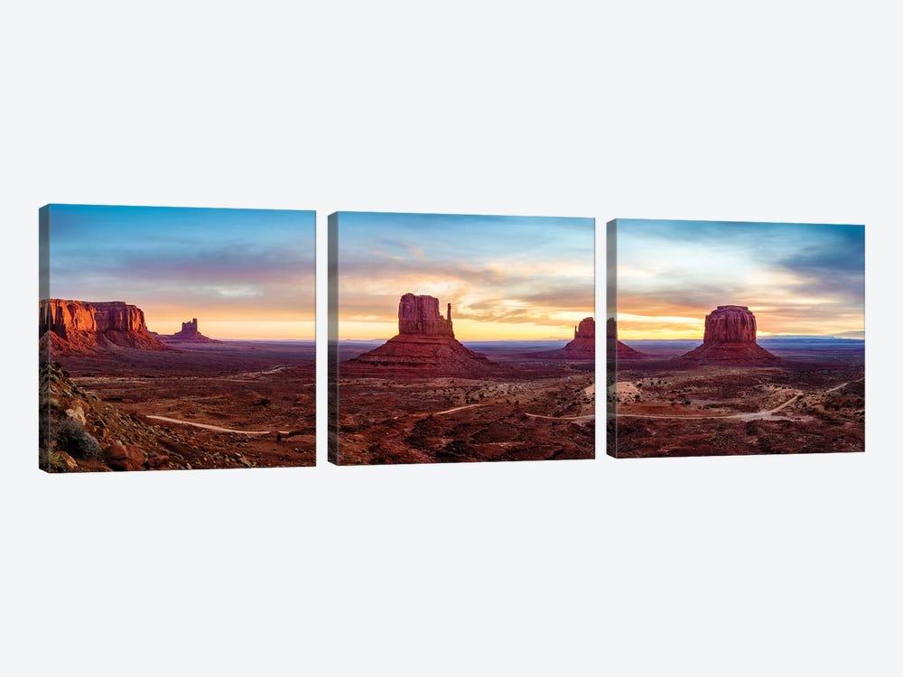 Sunrise Monument Valley Navajo Tribal Park  by Susanne Kremer 3-piece Canvas Print