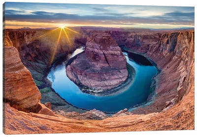 Sunset At Horseshoe Bend and Colorado River   Canvas Art Print