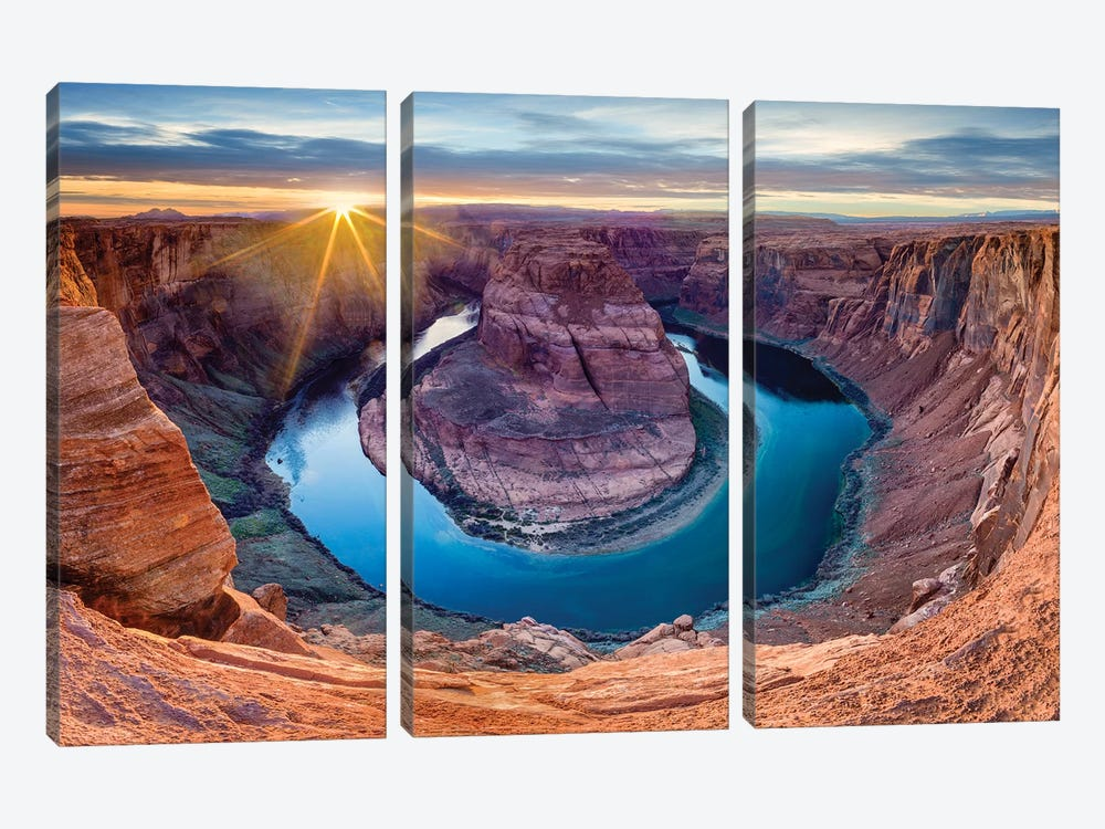 Sunset At Horseshoe Bend and Colorado River   by Susanne Kremer 3-piece Art Print