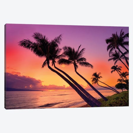 Sunset At Kaanapali Beach  Canvas Print #SKR230} by Susanne Kremer Canvas Wall Art
