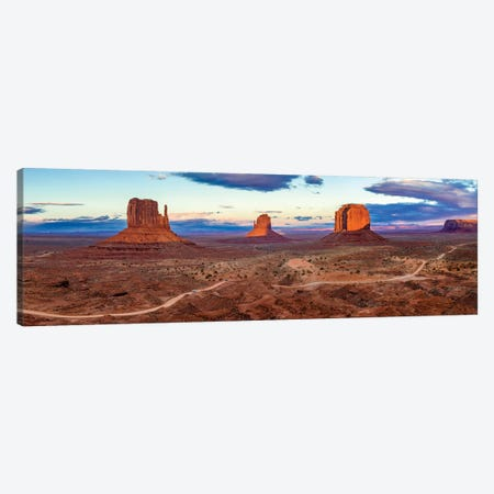 Sunset Monument Valley Navajo Tribal Park I Canvas Print #SKR233} by Susanne Kremer Canvas Artwork