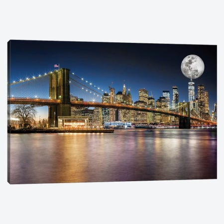 Brooklyn Bridge Manhattan Skyline Canvas Print #SKR23} by Susanne Kremer Canvas Wall Art