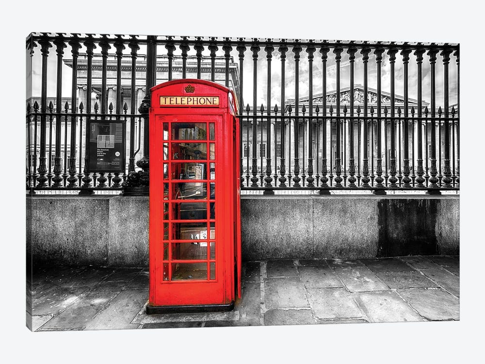 Telephone Booth At The British Museum  by Susanne Kremer 1-piece Canvas Art