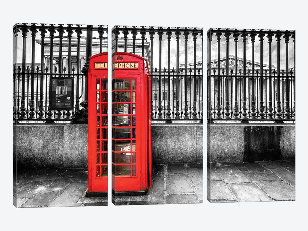 Telephone Booth At The British Museum  by Susanne Kremer 3-piece Canvas Wall Art