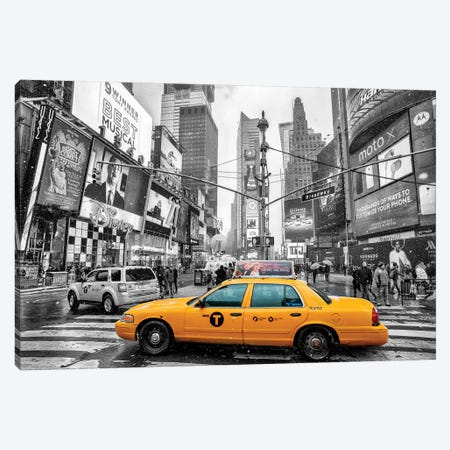 Times Square Yellow Cab I Canvas Print #SKR248} by Susanne Kremer Art Print
