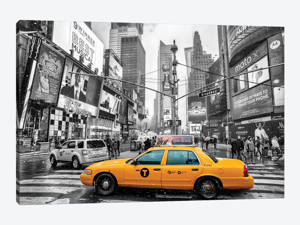 Times Square Yellow Cab I by Susanne Kremer 1-piece Canvas Artwork