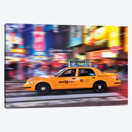 Times Square Yellow Cab II Canvas Print #SKR249} by Susanne Kremer Canvas Art Print