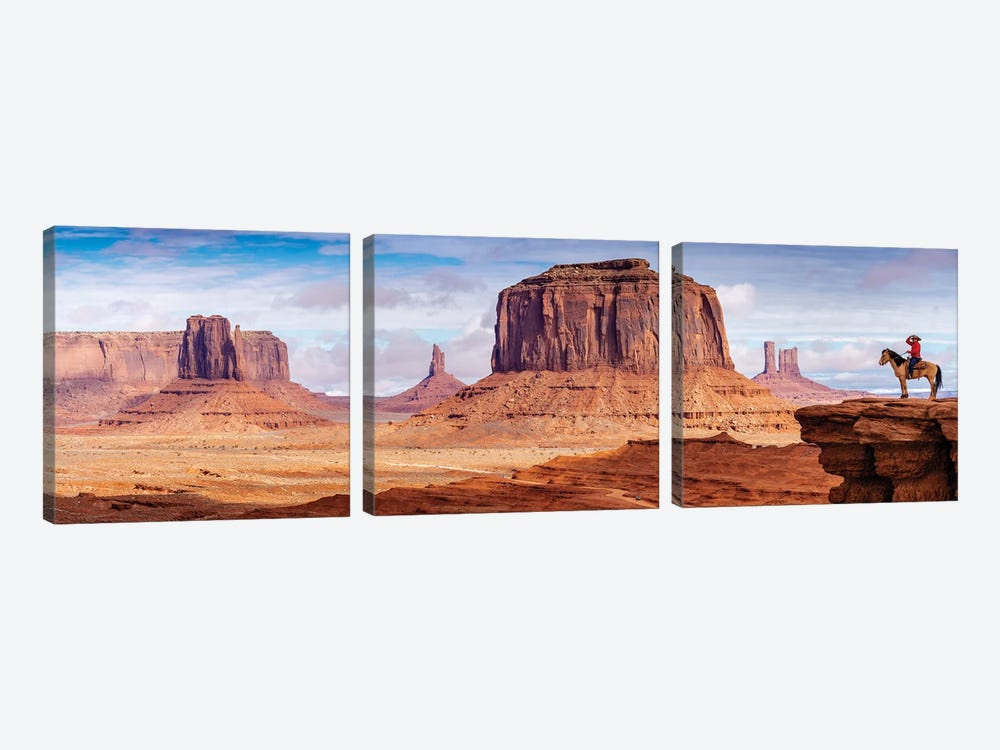 Tom Ford Point Navajo Man On Horse  by Susanne Kremer 3-piece Canvas Print
