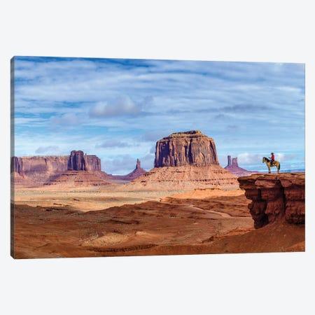 Tom Ford Point Navajo Man On Horse  Canvas Print #SKR251} by Susanne Kremer Canvas Artwork