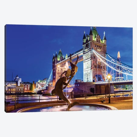 Tower Bridge Historic Bridge  Canvas Print #SKR252} by Susanne Kremer Canvas Art