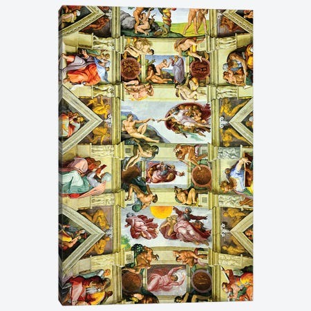 Vatican Museum Sistine Chapel, Ceiling Miachel Angelo  Canvas Print #SKR256} by Susanne Kremer Canvas Print