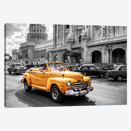 Vintage Car Driving Along Paseo de Mart  3-Piece Canvas #SKR261} by Susanne Kremer Art Print