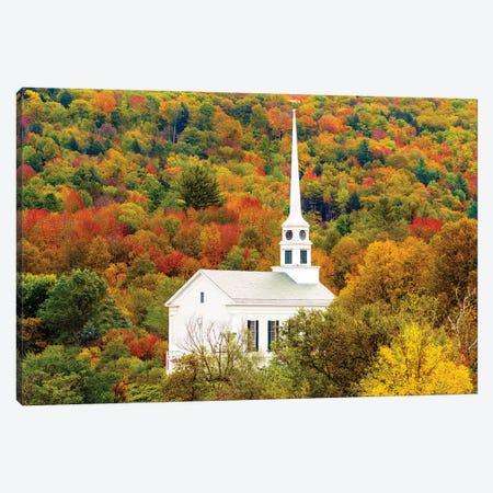 Church In Stowe , Autumn, Vermont New England 3-Piece Canvas #SKR269} by Susanne Kremer Canvas Art Print