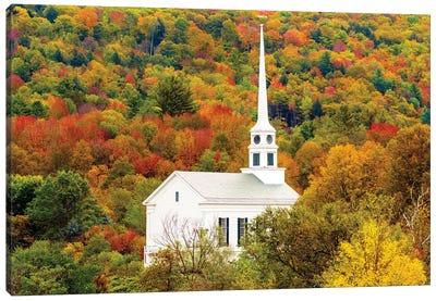 Church In Stowe , Autumn, Vermont New England Canvas Art Print