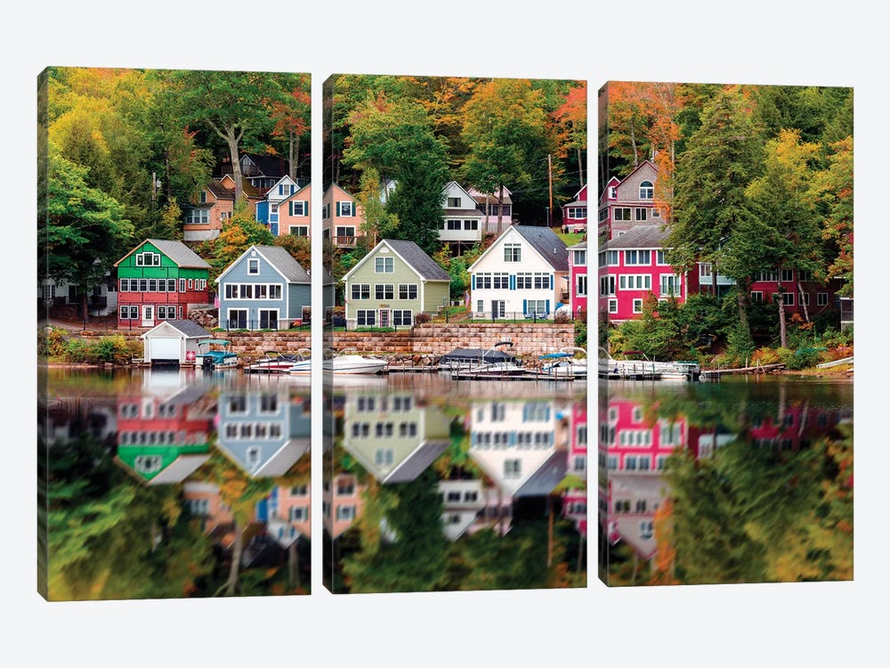 Wooden Homes Near Lake Winniepesaukee,New Hampshire New England by Susanne Kremer 3-piece Canvas Wall Art