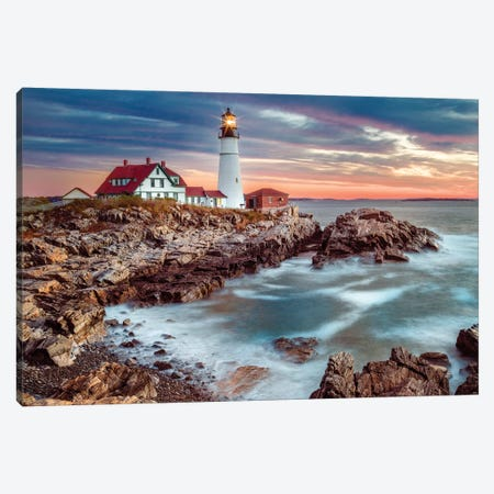 Cape Elizabeth Lighthouse On A Stormy Morning Canvas Print #SKR272} by Susanne Kremer Canvas Wall Art