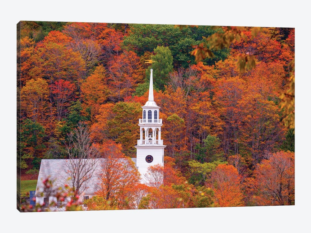 Church With Fall Foliage In Vermont New England by Susanne Kremer 1-piece Canvas Art