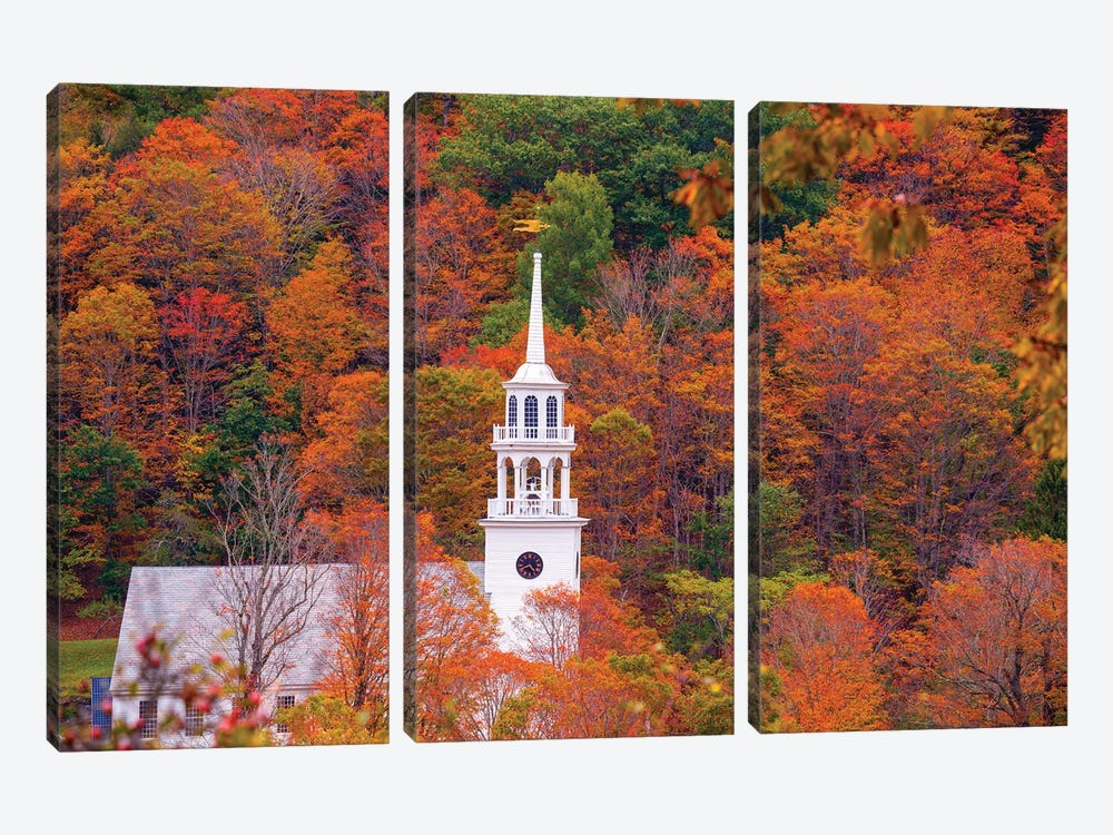 Church With Fall Foliage In Vermont New England by Susanne Kremer 3-piece Canvas Artwork