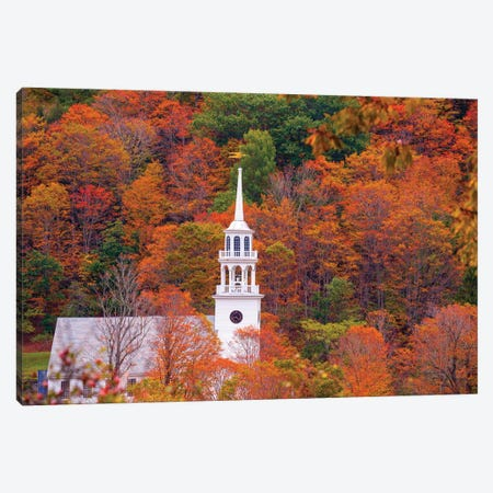 Church With Fall Foliage In Vermont New England Canvas Print #SKR273} by Susanne Kremer Canvas Artwork