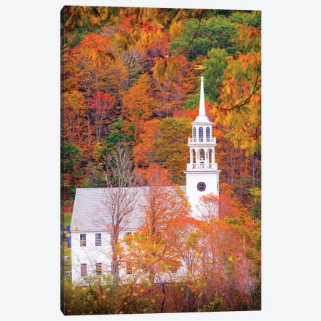 Church With Fall Foliage In Vermont New England 3-Piece Canvas #SKR274} by Susanne Kremer Canvas Art Print