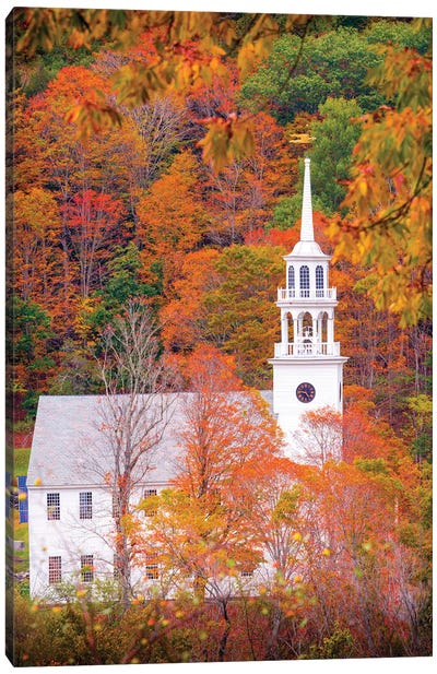 Church With Fall Foliage In Vermont New England Canvas Art Print