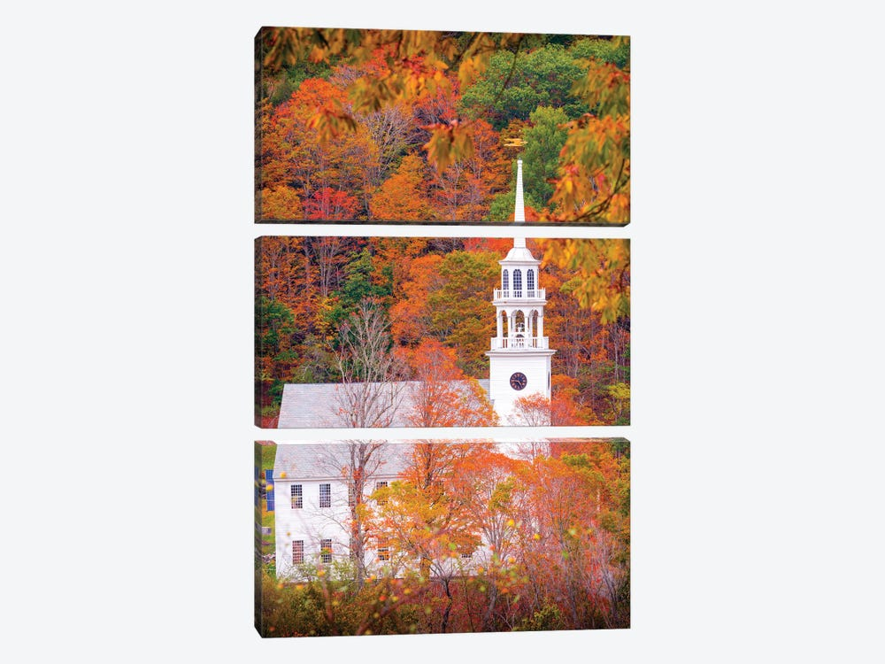Church With Fall Foliage In Vermont New England by Susanne Kremer 3-piece Canvas Print