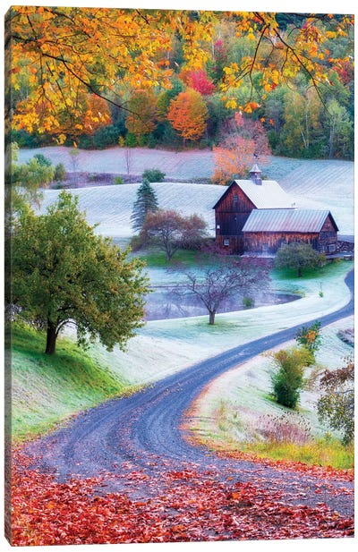 Picturesque Farm In Woodstock Vermont New England Canvas Art Print