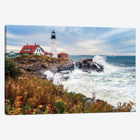 Cape Elizabeth Lighthouse Stormy Morning Portland Maine Canvas Print #SKR277} by Susanne Kremer Canvas Print