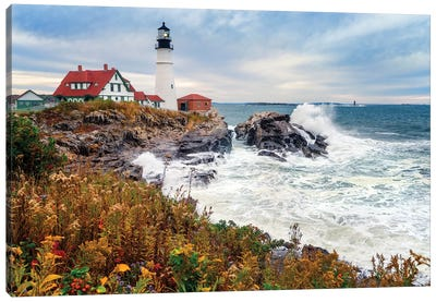 Cape Elizabeth Lighthouse Stormy Morning Portland Maine Canvas Art Print