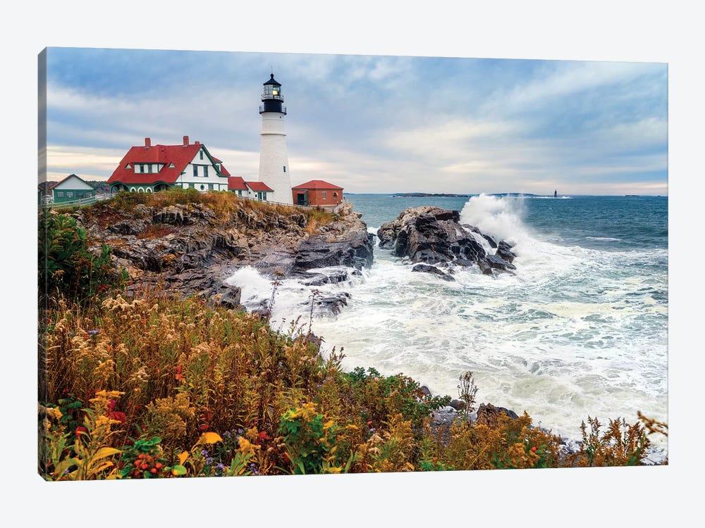 Cape Elizabeth Lighthouse Stormy Morning Portland Maine by Susanne Kremer 1-piece Canvas Art