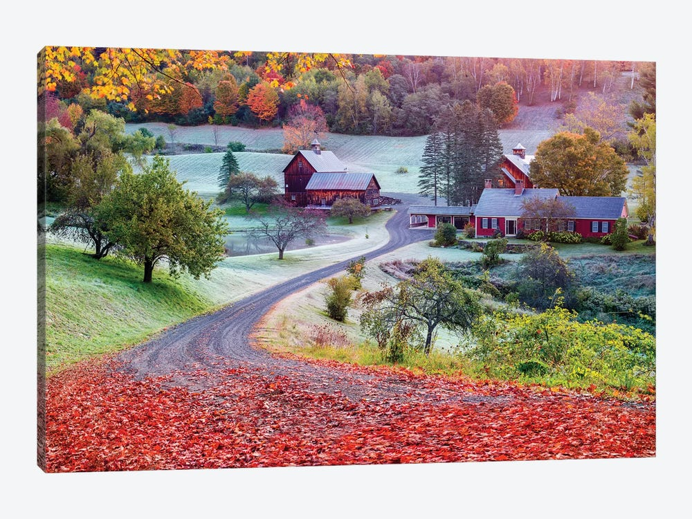 First Cold Morning In Autumn,Farm In Woodstock Vermont New England by Susanne Kremer 1-piece Art Print