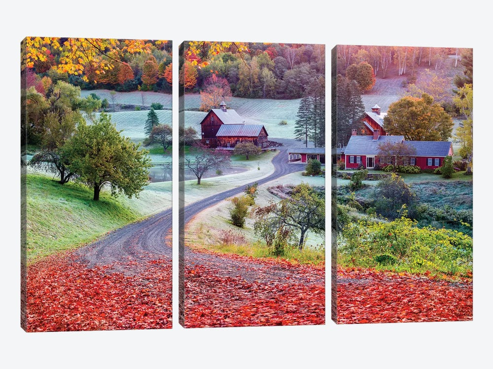First Cold Morning In Autumn,Farm In Woodstock Vermont New England by Susanne Kremer 3-piece Canvas Print