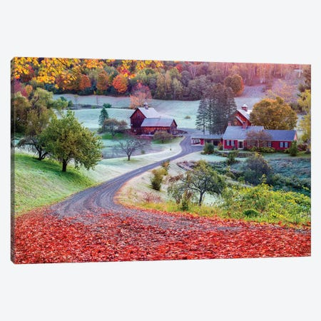 First Cold Morning In Autumn,Farm In Woodstock Vermont New England Canvas Print #SKR281} by Susanne Kremer Art Print